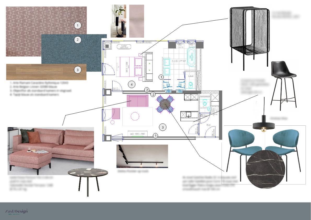 materialenkaart interieur design hotel suite