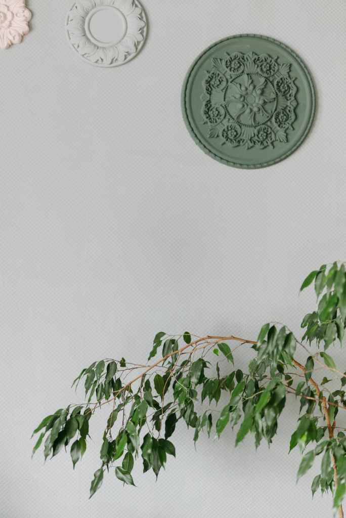 green and white floral round wall decor